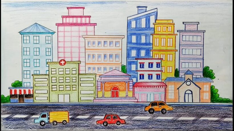 Vẽ tranh đề tài cuộc sống quanh em cảnh đường phố