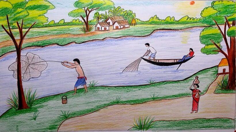 Vẽ tranh đề tài cuộc sống quanh em cảnh lao động ở làng quê