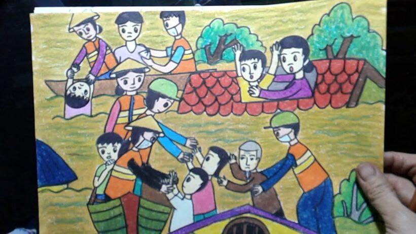 Vẽ tranh đề tài cuộc sống quanh em hoạt động cứu trợ vùng lũ lụt
