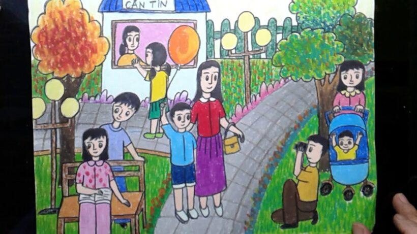 Vẽ tranh đề tài cuộc sống quanh em với các hoạt động trong khu công viên