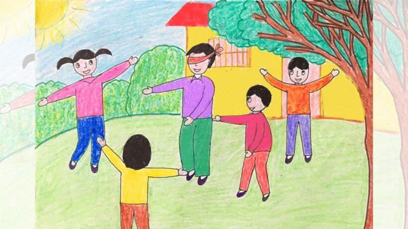 Vẽ tranh đề tài cuộc sống quanh em với các hoạt động vui chơi của trẻ em
