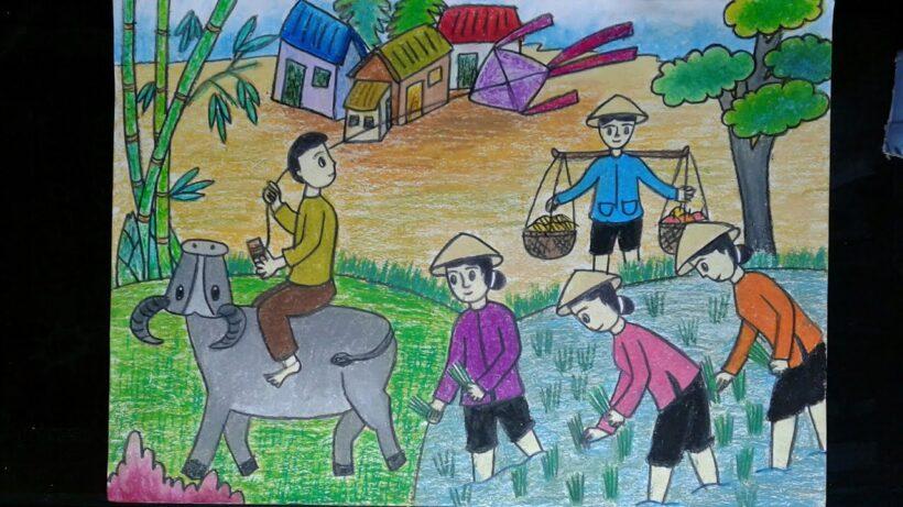 Vẽ tranh đề tài cuộc sống quanh em với hoạt động cấy lúa của các bác nông dân