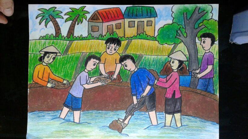 Vẽ tranh đề tài cuộc sống quanh em với hoạt động đào đắp bờ ruộng