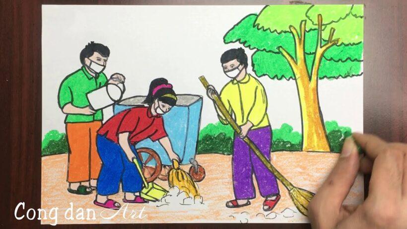 Vẽ tranh đề tài cuộc sống quanh em với hoạt động quét dọn