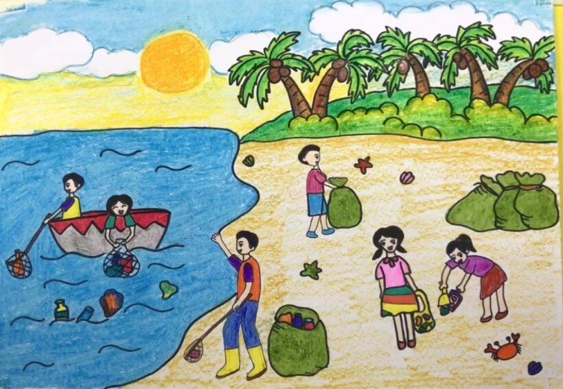 Vẽ tranh đề tài cuộc sống quanh em với hoạt động thu gom rác trên bãi biển