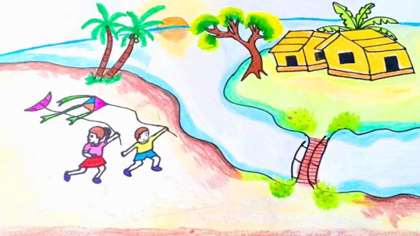 Vẽ tranh đề tài cuộc sống quanh em với hoạt động vui chơi của các em nhỏ miền quê