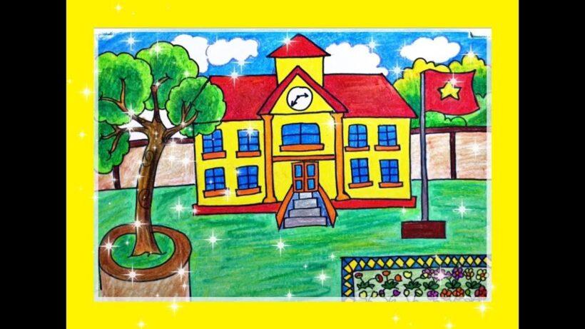 Vẽ tranh đề tài trường em đẹp