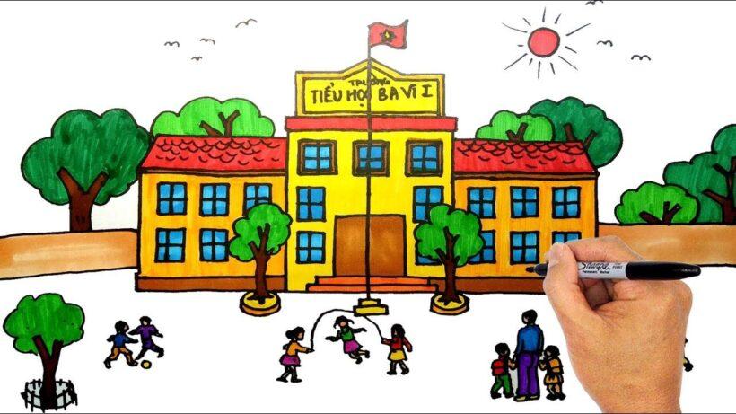 Vẽ tranh đề tài trường em đẹp, vui vẻ