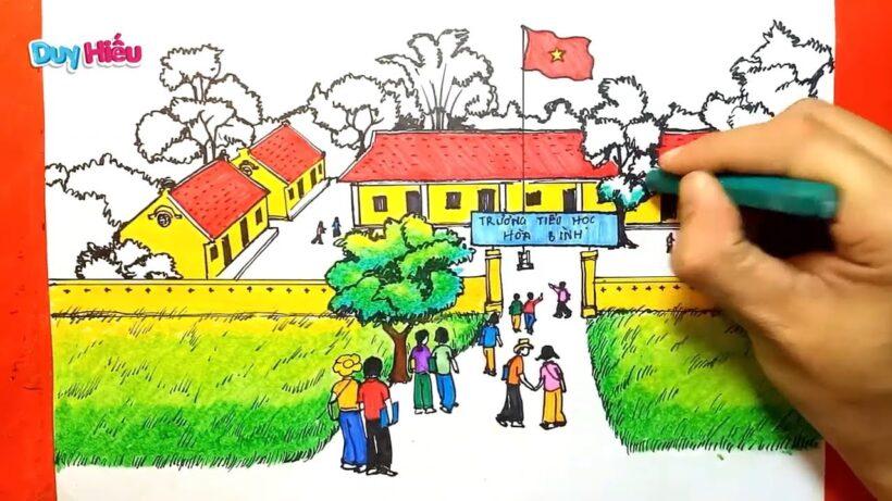 Vẽ tranh đề tài trường em giờ đến trường