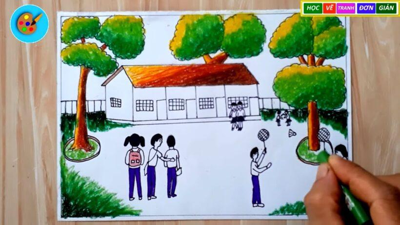 Vẽ tranh đề tài trường em giờ đến trường của các bạn học sinh