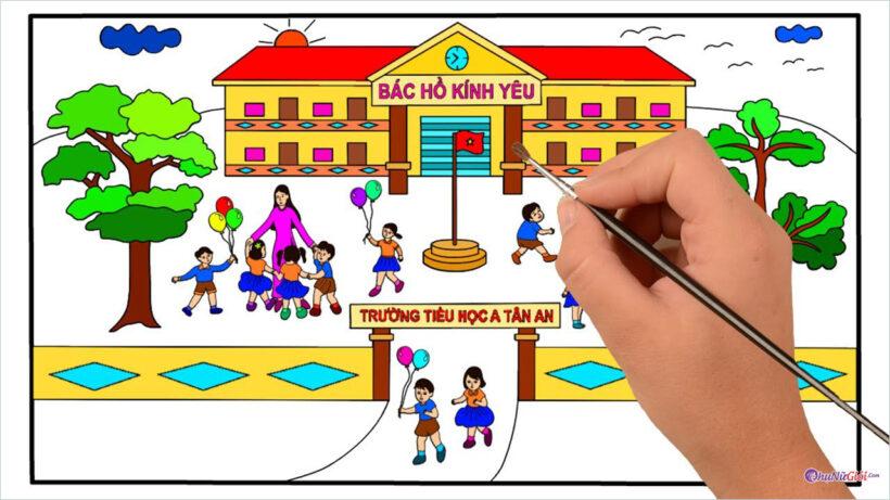 Vẽ tranh đề tài trường em hạnh phúc, đẹp nhất