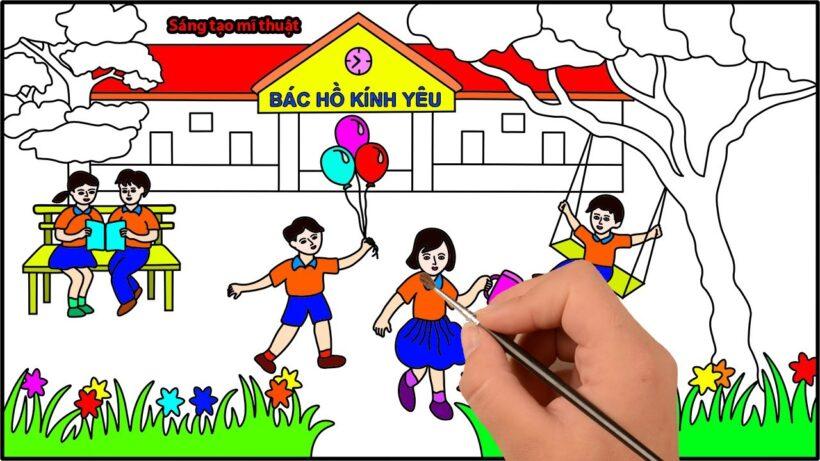 Vẽ tranh đề tài trường em hạnh phúc, vui vẻ