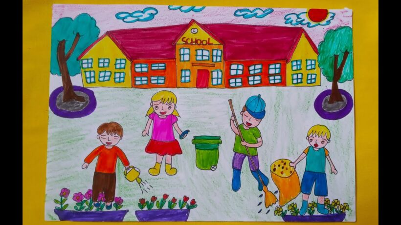 Vẽ tranh đề tài trường em và hoạt động quét dọn sân trường