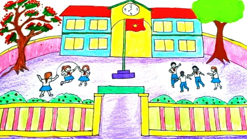 Vẽ tranh đề tài trường em và những bạn học sinh