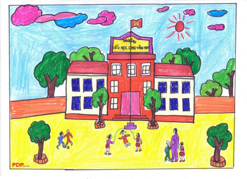 Vẽ tranh đề tài trường em với những hoạt động vui chơi của các bạn học sinh