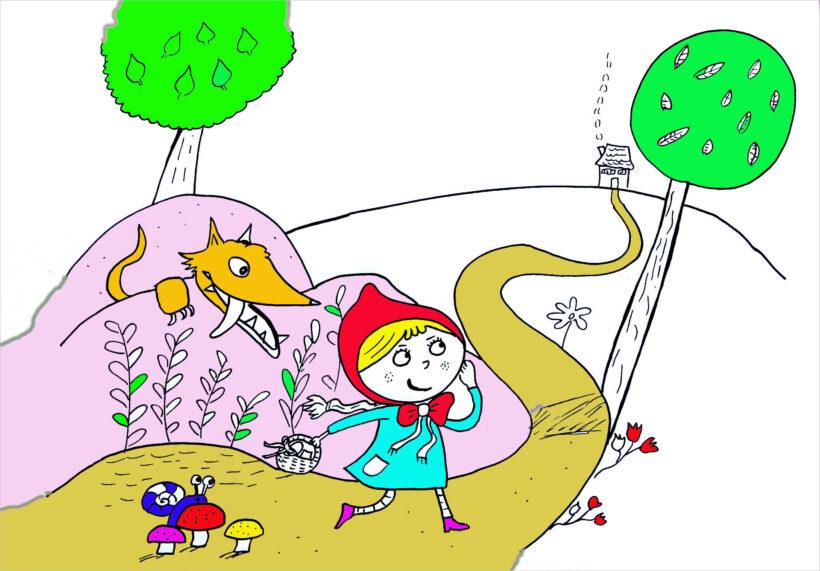 Vẽ tranh dễ thương về cô bé quàng khăn đỏ