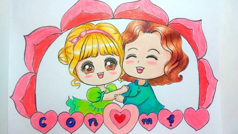 Vẽ tranh dễ thương về mẹ và con