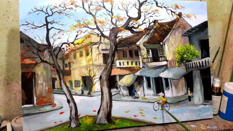 Vẽ tranh đẹp phong cảnh thành phố Hà Nội
