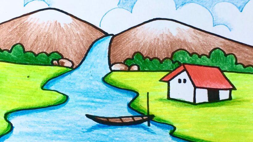 Vẽ tranh đẹp thác nước