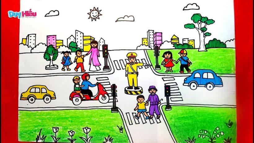 Vẽ tranh đẹp về đề tài an toàn giao thông