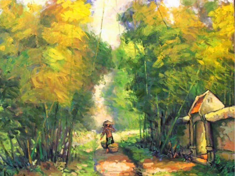 Vẽ tranh đẹp về phong cảnh làng quê