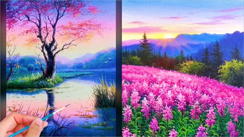 Vẽ tranh đẹp về phong cảnh thiên nhiên