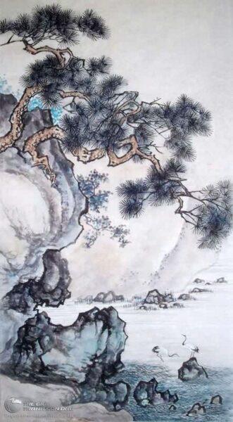 Vẽ tranh thủy mặc cây Tùng bên vách đá