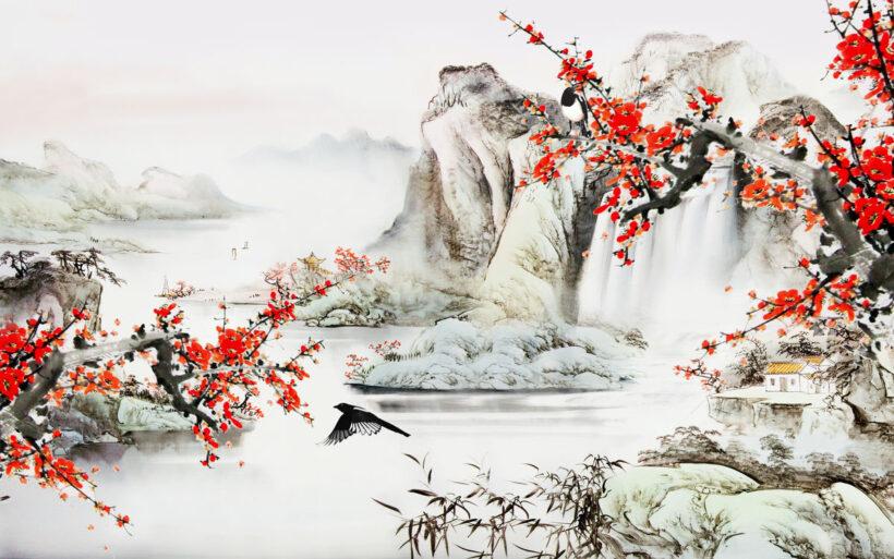 Vẽ tranh thủy mặc phong cảnh hoa đào và núi non