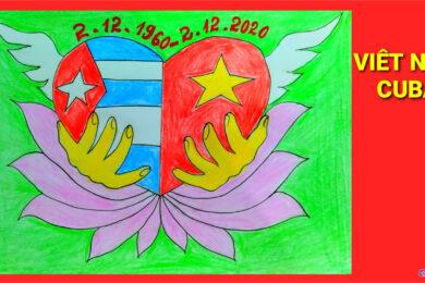 Vẽ tranh tình hữu nghị Việt Nam và Cuba thắm tình đoàn kết 60 năm đẹp nhất