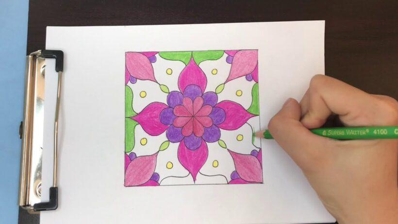 Vẽ tranh trang trí hình vuông quy luật đối xứng