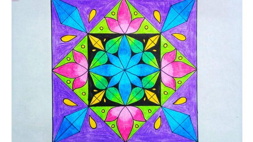 Vẽ tranh trang trí hình vuông với nhiều hoạ tiết màu sắc rực rỡ