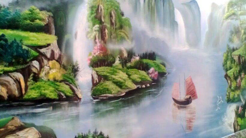 Vẽ tranh tường phong cảnh đẹp