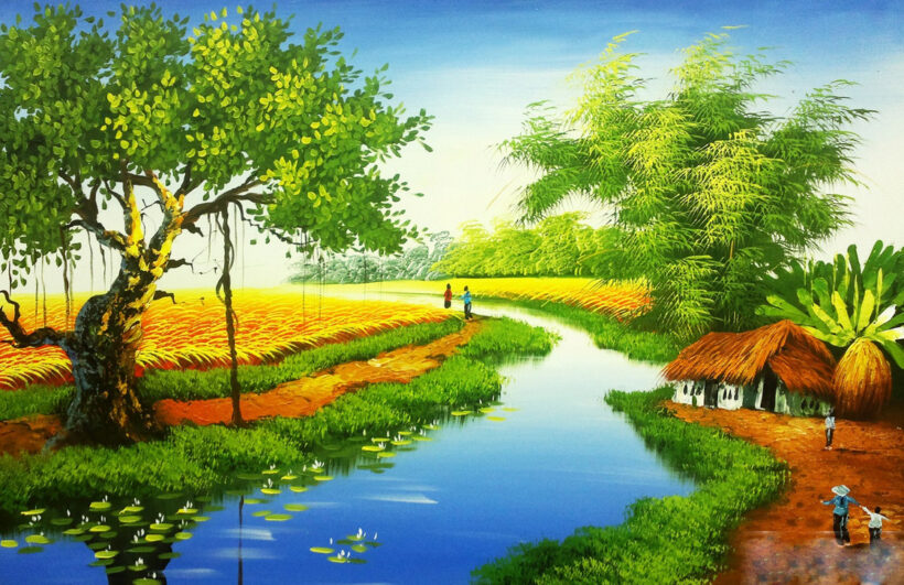 Vẽ tranh về đề tài quê hương Việt Nam bình dị