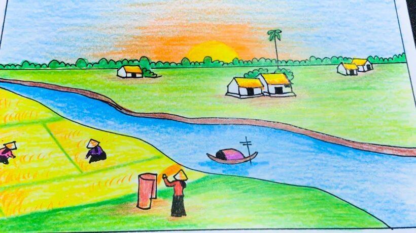 Vẽ tranh về đề tài quê hương phong cảnh cánh đồng lúa và những người nông dân