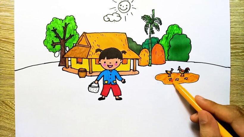 vẽ tranh đề tài ước mơ của em có ngôi nhà đẹp