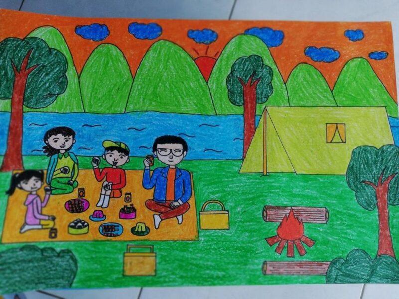 vẽ tranh đề tài ước mơ của em được đi cắm trại cùng gia đình
