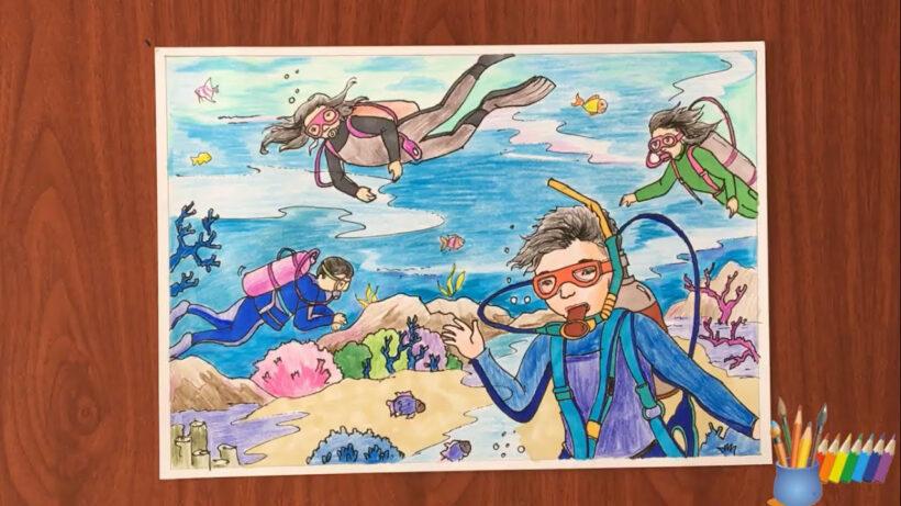 vẽ tranh đề tài ước mơ của em khám phá Đại Dương