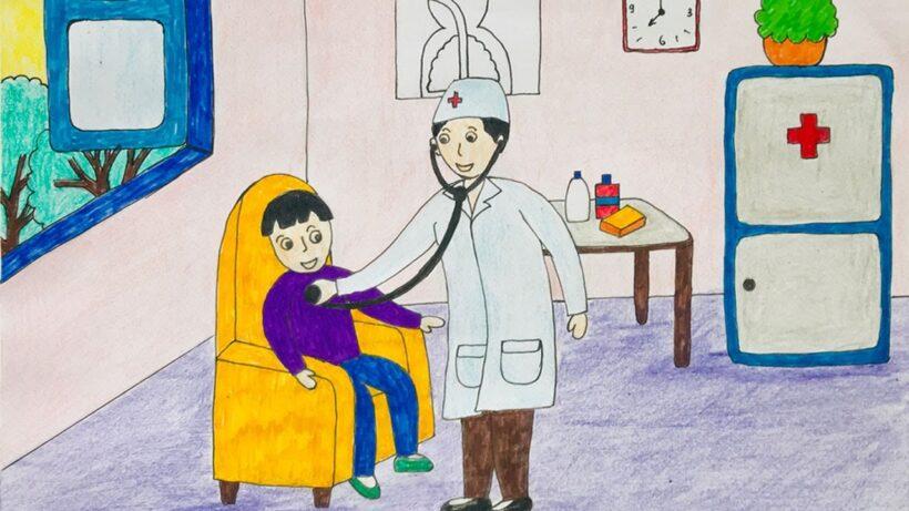 vẽ tranh đề tài ước mơ của em làm bác sĩ