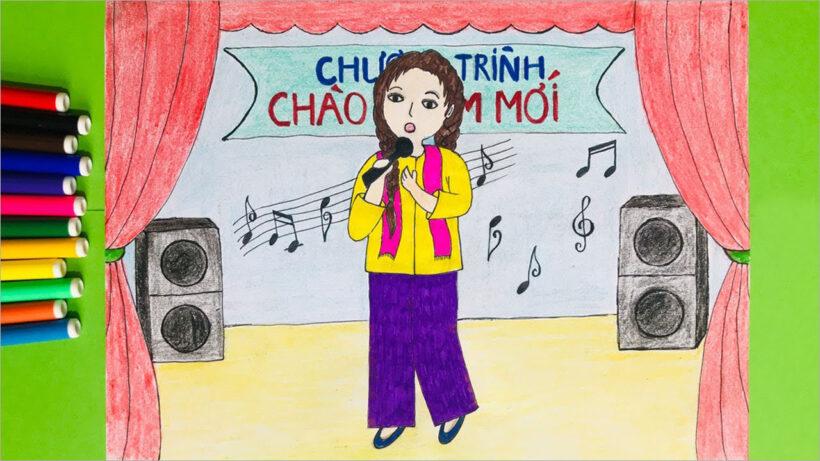 vẽ tranh đề tài ước mơ của em làm ca sĩ