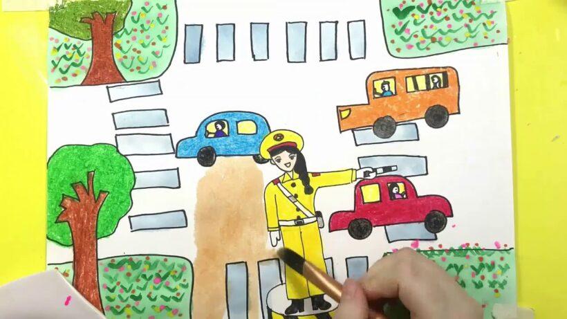 vẽ tranh đề tài ước mơ của em làm cảnh sát giao thông