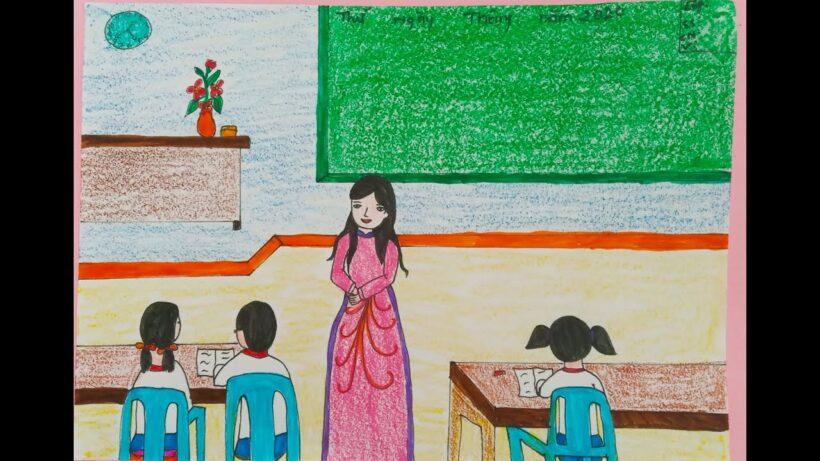 vẽ tranh đề tài ước mơ của em làm cô giáo