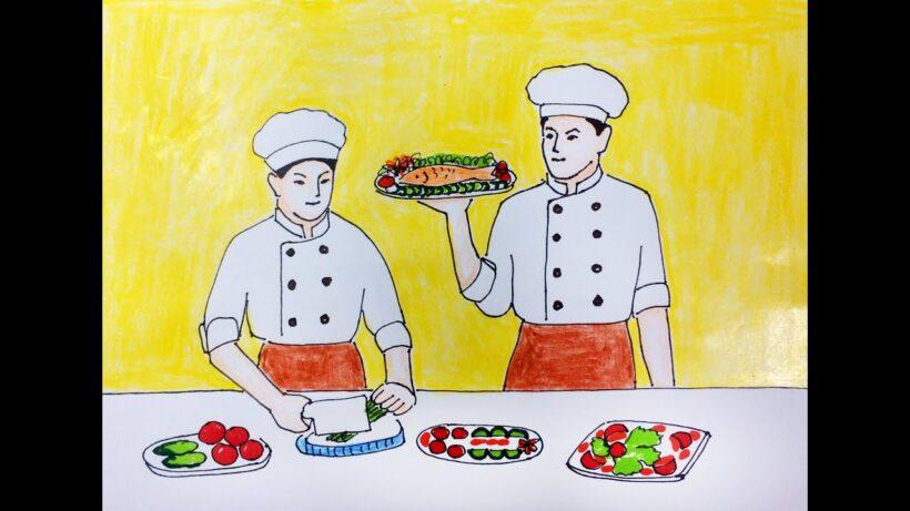 vẽ tranh đề tài ước mơ của em làm đầu bếp