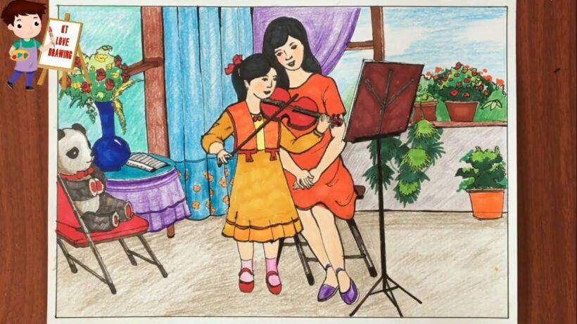 vẽ tranh đề tài ước mơ của em nhạc sĩ
